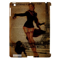 Paris Lady And French Poodle Vintage Newspaper Print Sexy Hot Gil Elvgren Pin Up Girl Paris Eiffel T Apple Ipad 3/4 Hardshell Case (compatible With Smart Cover) by chicelegantboutique