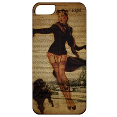 Paris Lady And French Poodle Vintage Newspaper Print Sexy Hot Gil Elvgren Pin Up Girl Paris Eiffel T Apple Iphone 5 Classic Hardshell Case