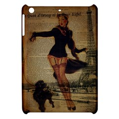 Paris Lady And French Poodle Vintage Newspaper Print Sexy Hot Gil Elvgren Pin Up Girl Paris Eiffel T Apple Ipad Mini Hardshell Case by chicelegantboutique