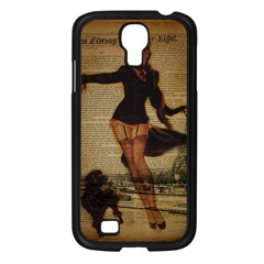 Paris Lady And French Poodle Vintage Newspaper Print Sexy Hot Gil Elvgren Pin Up Girl Paris Eiffel T Samsung Galaxy S4 I9500/ I9505 (black) by chicelegantboutique
