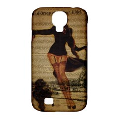 Paris Lady And French Poodle Vintage Newspaper Print Sexy Hot Gil Elvgren Pin Up Girl Paris Eiffel T Samsung Galaxy S4 Classic Hardshell Case (pc+silicone) by chicelegantboutique