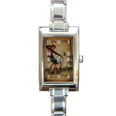 Paris Girl And Great Dane Vintage Newspaper Print Sexy Hot Gil Elvgren Pin Up Girl Paris Eiffel Towe Rectangular Italian Charm Watch by chicelegantboutique