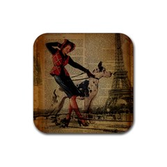 Paris Girl And Great Dane Vintage Newspaper Print Sexy Hot Gil Elvgren Pin Up Girl Paris Eiffel Towe Drink Coasters 4 Pack (square) by chicelegantboutique