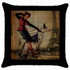 Paris Girl And Great Dane Vintage Newspaper Print Sexy Hot Gil Elvgren Pin Up Girl Paris Eiffel Towe Black Throw Pillow Case by chicelegantboutique