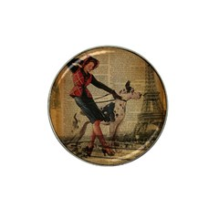 Paris Girl And Great Dane Vintage Newspaper Print Sexy Hot Gil Elvgren Pin Up Girl Paris Eiffel Towe Golf Ball Marker 4 Pack (for Hat Clip) by chicelegantboutique