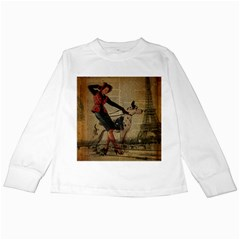 Paris Girl And Great Dane Vintage Newspaper Print Sexy Hot Gil Elvgren Pin Up Girl Paris Eiffel Towe Kids Long Sleeve T Shirt by chicelegantboutique