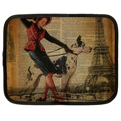 Paris Girl And Great Dane Vintage Newspaper Print Sexy Hot Gil Elvgren Pin Up Girl Paris Eiffel Towe Netbook Case (large) by chicelegantboutique
