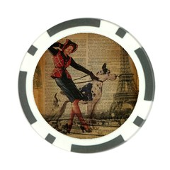 Paris Girl And Great Dane Vintage Newspaper Print Sexy Hot Gil Elvgren Pin Up Girl Paris Eiffel Towe Poker Chip 10 Pack by chicelegantboutique