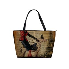 Paris Girl And Great Dane Vintage Newspaper Print Sexy Hot Gil Elvgren Pin Up Girl Paris Eiffel Towe Large Shoulder Bag by chicelegantboutique