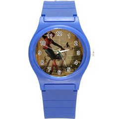 Paris Girl And Great Dane Vintage Newspaper Print Sexy Hot Gil Elvgren Pin Up Girl Paris Eiffel Towe Plastic Sport Watch (small) by chicelegantboutique
