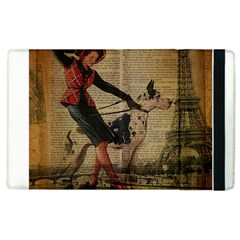 Paris Girl And Great Dane Vintage Newspaper Print Sexy Hot Gil Elvgren Pin Up Girl Paris Eiffel Towe Apple Ipad 2 Flip Case by chicelegantboutique