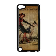 Paris Girl And Great Dane Vintage Newspaper Print Sexy Hot Gil Elvgren Pin Up Girl Paris Eiffel Towe Apple Ipod Touch 5 Case (black) by chicelegantboutique