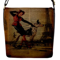 Paris Girl And Great Dane Vintage Newspaper Print Sexy Hot Gil Elvgren Pin Up Girl Paris Eiffel Towe Flap Closure Messenger Bag (small) by chicelegantboutique
