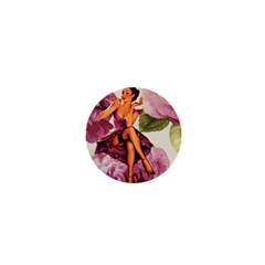 Cute Purple Dress Pin Up Girl Pink Rose Floral Art 1  Mini Button Magnet by chicelegantboutique