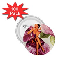 Cute Purple Dress Pin Up Girl Pink Rose Floral Art 1 75  Button (100 Pack) by chicelegantboutique