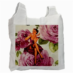 Cute Purple Dress Pin Up Girl Pink Rose Floral Art Recycle Bag (One Side) by chicelegantboutique