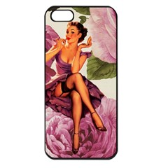 Cute Purple Dress Pin Up Girl Pink Rose Floral Art Apple Iphone 5 Seamless Case (black) by chicelegantboutique