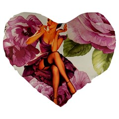 Cute Purple Dress Pin Up Girl Pink Rose Floral Art 19  Premium Heart Shape Cushion by chicelegantboutique