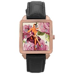 Cute Purple Dress Pin Up Girl Pink Rose Floral Art Rose Gold Leather Watch  by chicelegantboutique