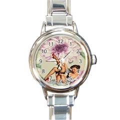 Gil Elvgren Pin Up Girl Purple Flower Fashion Art Round Italian Charm Watch by chicelegantboutique