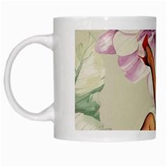 Gil Elvgren Pin Up Girl Purple Flower Fashion Art White Coffee Mug by chicelegantboutique