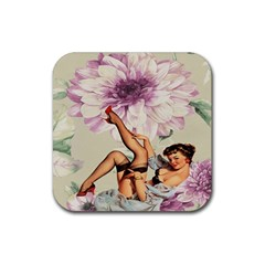 Gil Elvgren Pin Up Girl Purple Flower Fashion Art Drink Coaster (square) by chicelegantboutique