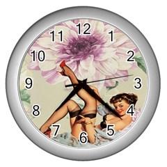 Gil Elvgren Pin Up Girl Purple Flower Fashion Art Wall Clock (silver) by chicelegantboutique