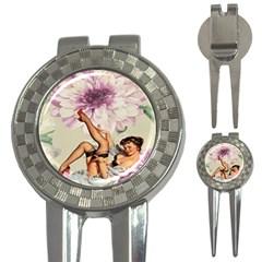 Gil Elvgren Pin Up Girl Purple Flower Fashion Art Golf Pitchfork & Ball Marker by chicelegantboutique