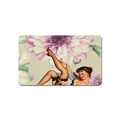 Gil Elvgren Pin Up Girl Purple Flower Fashion Art Magnet (name Card) by chicelegantboutique