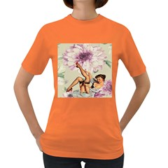 Gil Elvgren Pin Up Girl Purple Flower Fashion Art Womens' T Shirt (colored) by chicelegantboutique