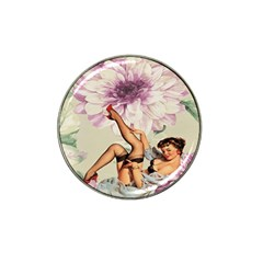 Gil Elvgren Pin Up Girl Purple Flower Fashion Art Golf Ball Marker 10 Pack (for Hat Clip) by chicelegantboutique