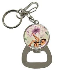 Gil Elvgren Pin Up Girl Purple Flower Fashion Art Bottle Opener Key Chain by chicelegantboutique