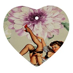 Gil Elvgren Pin Up Girl Purple Flower Fashion Art Heart Ornament (two Sides) by chicelegantboutique