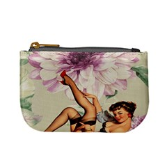 Gil Elvgren Pin Up Girl Purple Flower Fashion Art Coin Change Purse by chicelegantboutique