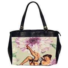 Gil Elvgren Pin Up Girl Purple Flower Fashion Art Oversize Office Handbag (two Sides) by chicelegantboutique