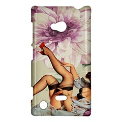 Gil Elvgren Pin Up Girl Purple Flower Fashion Art Nokia Lumia 720 Hardshell Case by chicelegantboutique