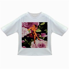 Cute Gil Elvgren Purple Dress Pin Up Girl Pink Rose Floral Art Baby T Shirt by chicelegantboutique