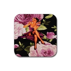 Cute Gil Elvgren Purple Dress Pin Up Girl Pink Rose Floral Art Drink Coaster (square) by chicelegantboutique