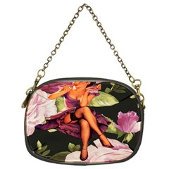 Cute Gil Elvgren Purple Dress Pin Up Girl Pink Rose Floral Art Chain Purse (two Sided)  by chicelegantboutique