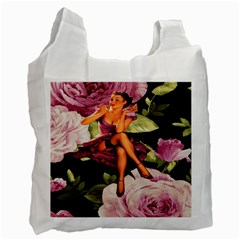 Cute Gil Elvgren Purple Dress Pin Up Girl Pink Rose Floral Art Recycle Bag (one Side) by chicelegantboutique