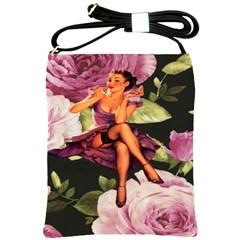 Cute Gil Elvgren Purple Dress Pin Up Girl Pink Rose Floral Art Shoulder Sling Bag by chicelegantboutique