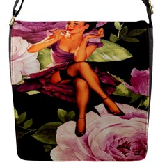Cute Gil Elvgren Purple Dress Pin Up Girl Pink Rose Floral Art Flap Closure Messenger Bag (small) by chicelegantboutique