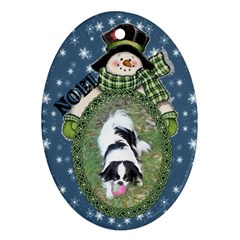 Snowman Oval Ornament, 2 Sides By Joy Johns   Oval Ornament (two Sides)   5quvfq96im5k   Www Artscow Com Front