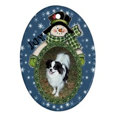 Snowman Oval Ornament, 2 Sides By Joy Johns   Oval Ornament (two Sides)   5quvfq96im5k   Www Artscow Com Back