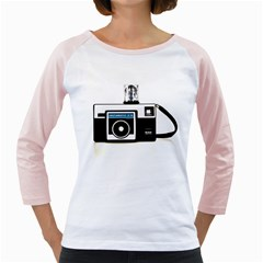 Kodak (3)c Womens  Long Sleeve Raglan T Shirt (white) by KellyHazel
