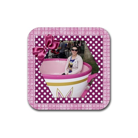 Pink Delight Coaster (square) By Deborah   Rubber Coaster (square)   6stvskg0bczv   Www Artscow Com Front