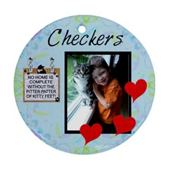 Checkers By Sherry Olford   Round Ornament (two Sides)   Aet0tdxzlnp7   Www Artscow Com Front