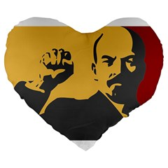 Power With Lenin 19  Premium Heart Shape Cushion by youshidesign