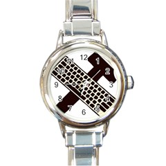 Hammer And Keyboard  Round Italian Charm Watch by youshidesign