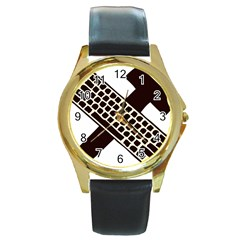 Hammer And Keyboard  Round Metal Watch (gold Rim)  by youshidesign